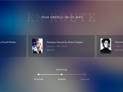Shot 086 - Order Tracking delivery product order shopping art photography ui user interface dark gradient blur