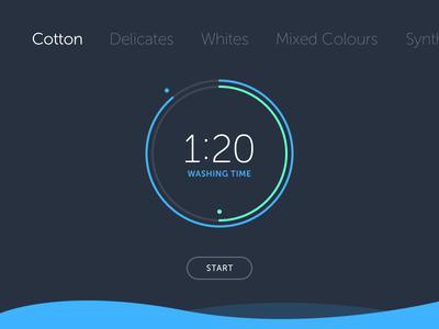 Shot 097 - Washing Machine UI visualisation app circle interaction clock time clean dark minimal interface user ui