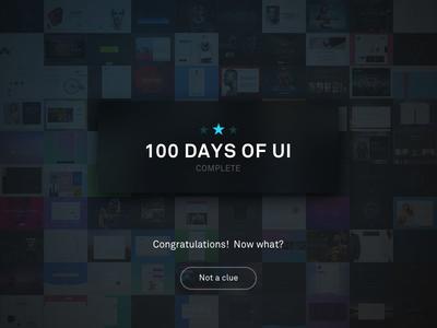 Shot 100 - Congratulations Card days 100 challenge button mobile modal dark minimal clean interface user ui