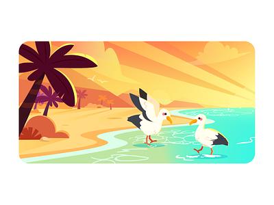 seaside vector 设计 插图