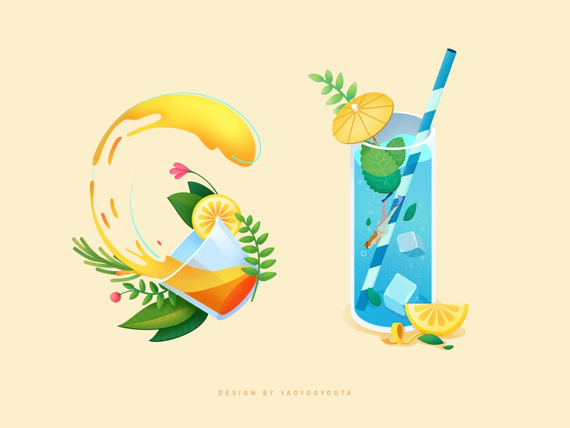 Juice and soda 设计 插图