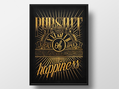"""Pursuit of happiness"" handlettering type handmade typography"