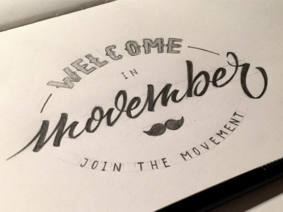 Welcome Movember ! handlettering handmade calligraphy typography