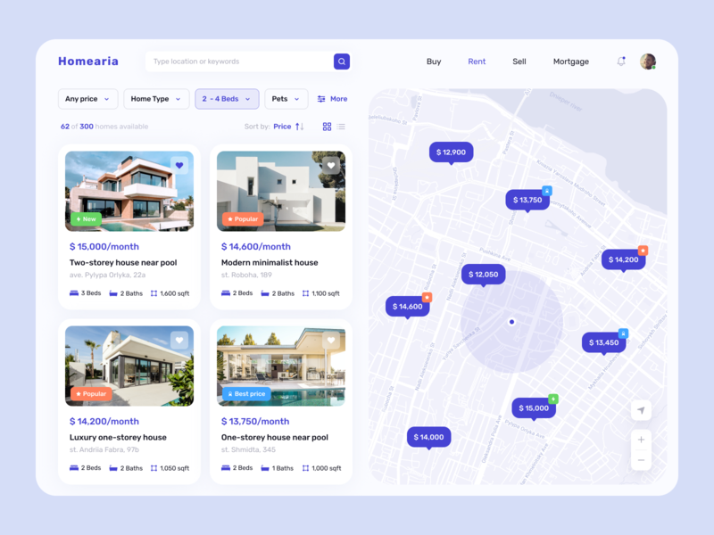 Real Estate | Website Concept 🏘 dashboard apartment house home buy uidesign search ux  ui rental website renting website design real estate website map location home sale design minimal inspiration ui home rent