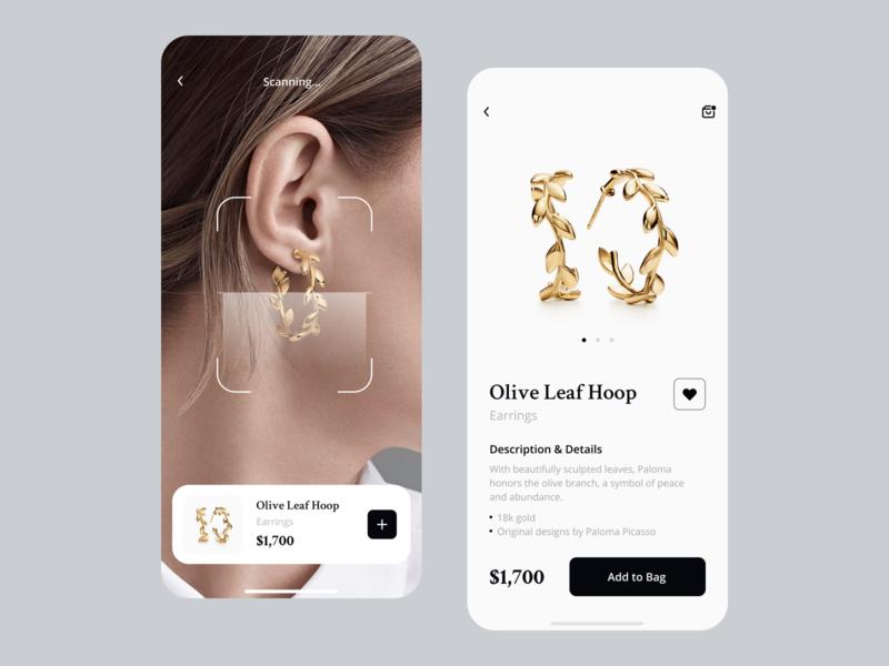 Jewelry  E-Сommerce App | Jewelry Search & AR Scan 💍 ios ecommerce app scanner scan earrings jewelry shopping app scanning ar ui design app design mobile app design clean mobile app minimal inspiration ui