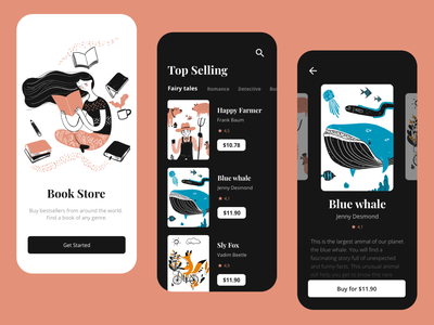 Book Store App | Fairy tales vector black theme mobile inspiration uidesign fairy tale store design minimal clean mobile app store app illustrations ui app book app bookshop book store book