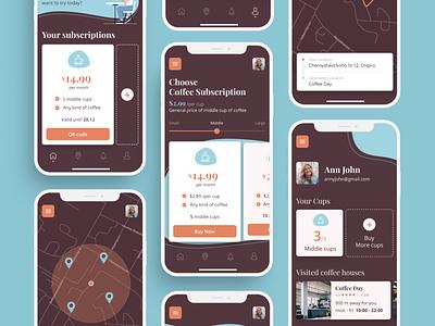 DiscountCup   Coffee App ux ui subscription purchase popular mobile ui mobile app mobile minimal ios location illustraion coffee shop coffee house coffee finder coffee cup coffee app design app