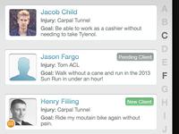 Healthcare Professionals App: Client Listing