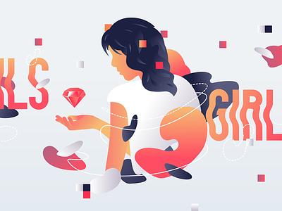 Rails Girls rails love ruby girl gradient web liquid illustration girls