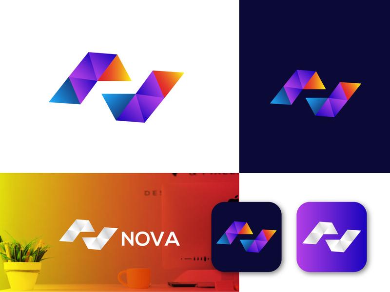 N latter logo Design For Nova application logo brand logo business logo modern amdesignspack logo application ui marketing web application n logotype n logomark n latter logo new branding