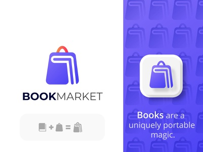 Book + Market Logo concept amdesignspack logo brand education modern logo education logo book app icon app icon website logo company brand logo company logo business logo modern logo book and shop book sell marketing book marketing shopping bag logo book logo design book shop logo book shop shopping bag