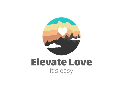 Mountain and sky logo design for Elevate love love logo logo modern logo creative logo mountain logo design brand identity brand logo brand website creative farm logo sky logo concept sky logo mountain bike love express lover travel mountain logo concept mountain logo sky love mountain