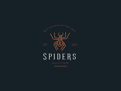 SPIDERS LOGO DESIGN halloween cartoon art tattoo solution silhouette web icon design computer connection creepy cube danger electronic geometric flat symbol logotype spider