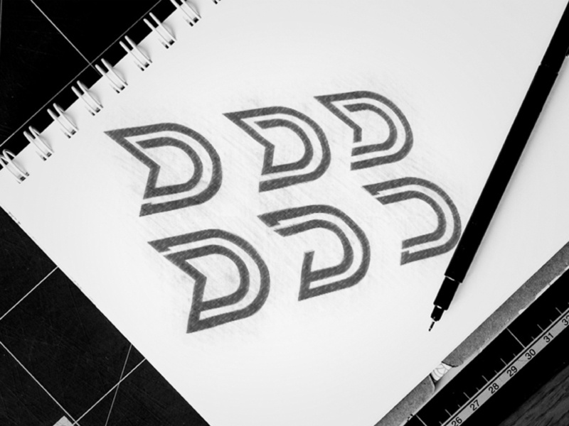 D C AND G Latter logo concept Sketch