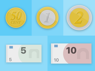 Euro Coins and Notes - Mobile App Concept ten five cent fifty one two euro notes bank coins
