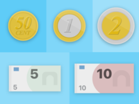 Euro Coins and Notes - Mobile App Concept