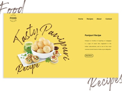 Indian Food Recipes Landing Page uiuxdesign concept landing page design recipe recipes food branding website web uxdesign brandingagency ux ui