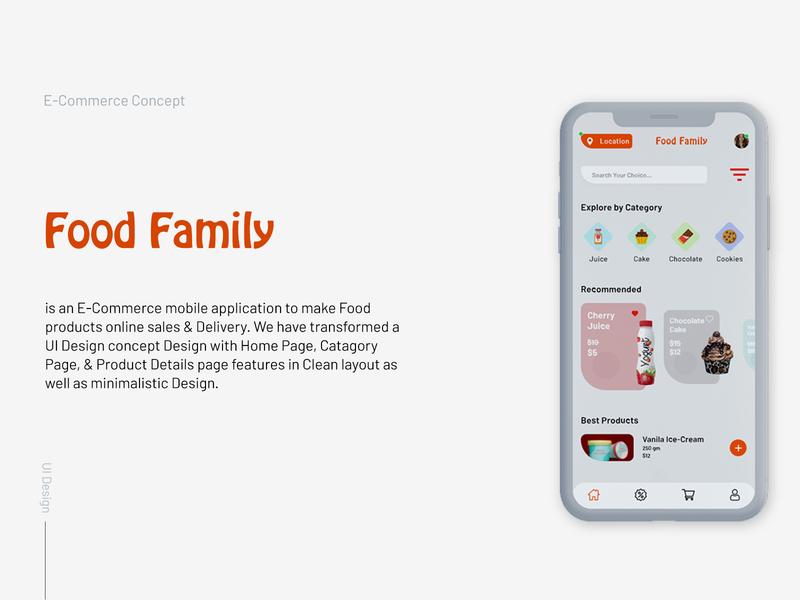 Food Family E-Commerce Mobile App UI Design