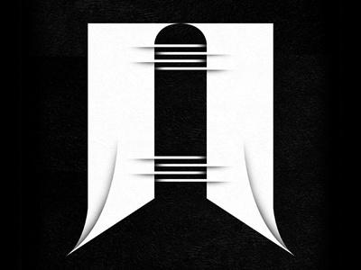 N typography letter n black  white custom font