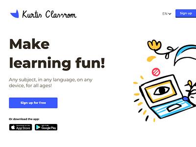 Kurtis Classroom classroom illustration figma learning app learning education landing landingpage visualdesign ui ux