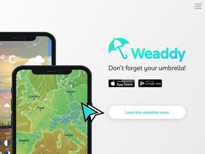 Weaddy: Weather App time cloud settings temperature sun rain weather app ui ux