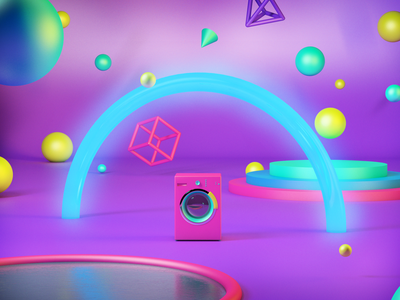 Washing Bubbles Machine neon cgi water abstract cube washing machine 3d