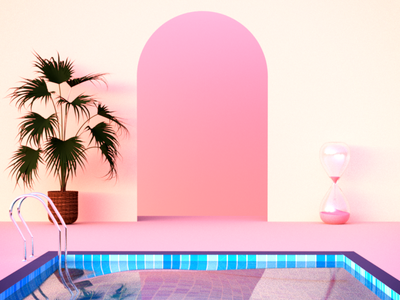 Timing water plant swimmingpool sand clock sunset chill 3d