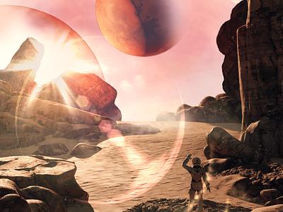 Dystomic Desert utopic dystopic space universe concept art rock planet astronaut desert surrealism 3d