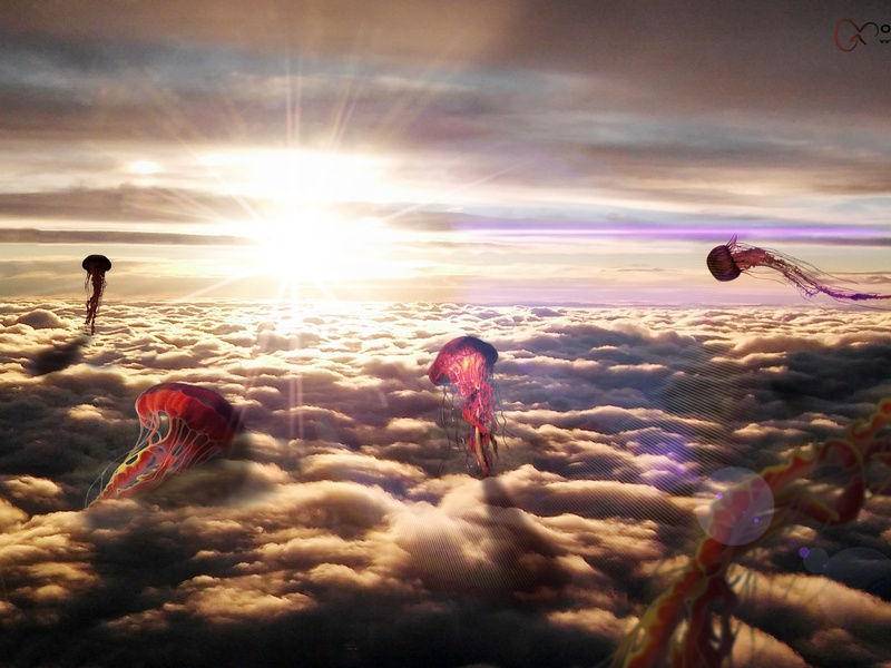 Sea of Jellyfishs matte painting surrealism sun cloud sky jellyfishs