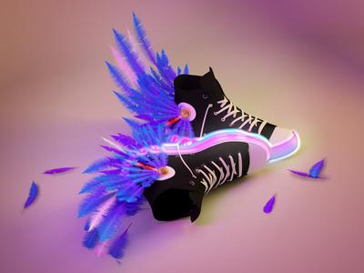 Millennial Hermes purple feather 3d shoes god hermes millennial millenial