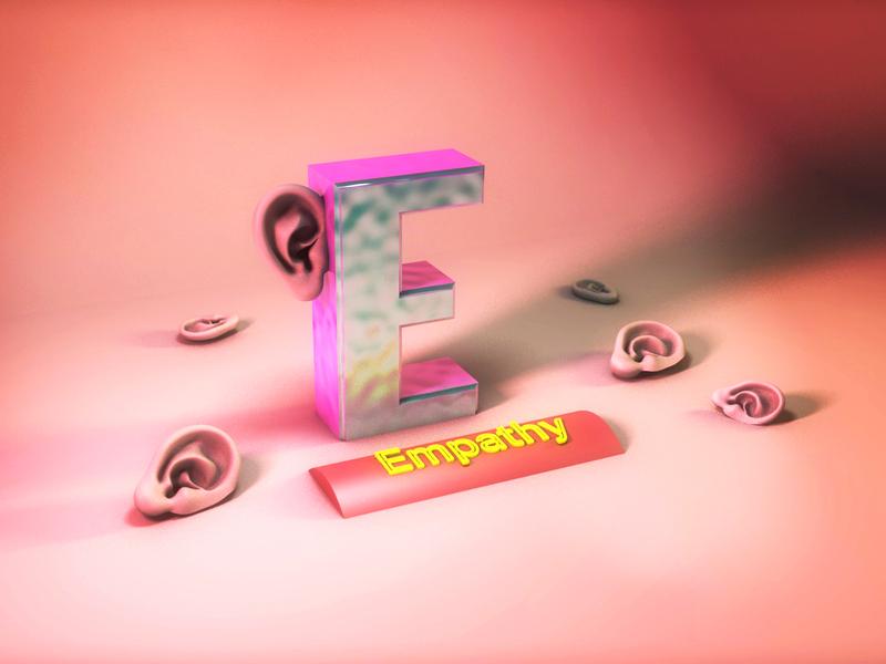 E - 36daysoftype ear empathy ui ux 36days-e letter 3d