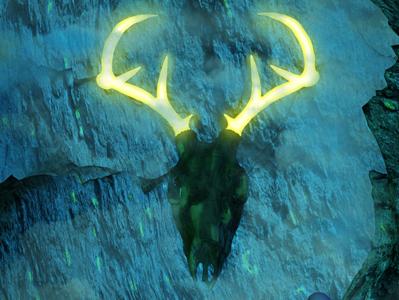 XX-  The Judgement cavern cave deer judgement surrealism tarot 3d
