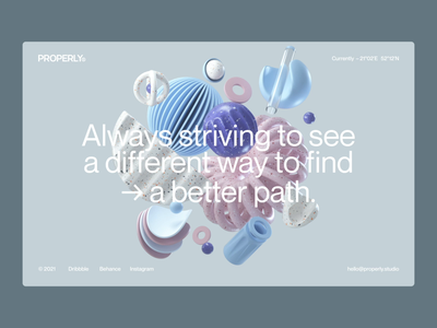 Say hello to Properly! shapes colorful pastel clean website uiux ui light shaders c4d 3d animation landingpage 3d motion madebyproperly rly properly studio