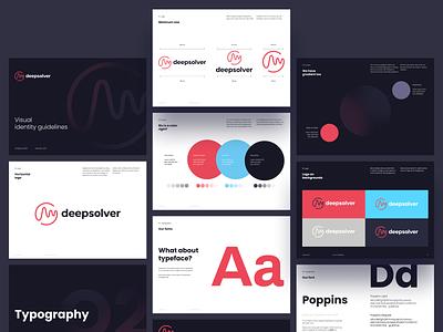 Deepsolver - Brandbook minimal design dark logotype guidelines identity brand identity madebyproperly rly poppins typography pink clean deepsolver solver poker uiux logo branding