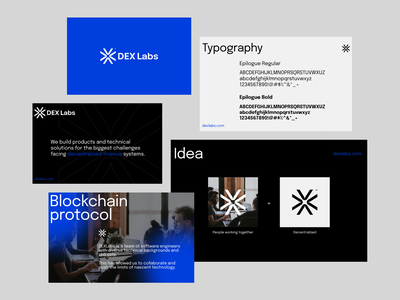 DEX labs - Brand Proposal blue dark typography minimal studio properly madewithproperly labs logo brand brandbook uiux clean design crypto decentralized dex