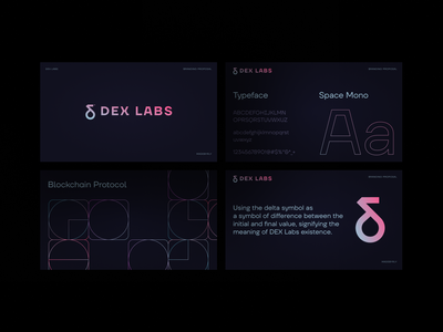 DEX labs - Proposal v2 rly madewithproperly properly typography design logo font dark uidesignpatterns delta gradient logo branding brandbook uidesign gradients minimal ui