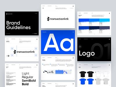 TransactionLink Brandbook styleguide brand arrows blue modern design madebyproperly light 3d uiux fintech minimal guidelines branding brandbook app properlystudio