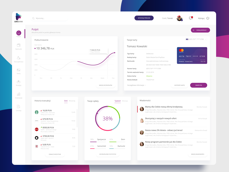 Bank Dashboard interface ui ux minimal chart card banking finance client panel dashboard bank