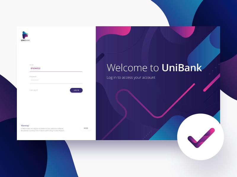 Bank login panel sketch interface check minimal color ux ui login signup panel bank