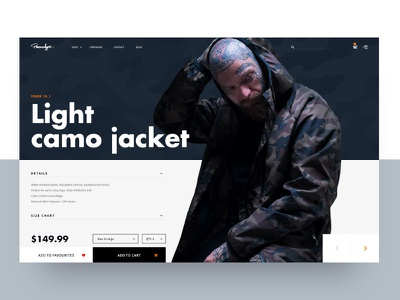 Ecommerce Product Page ecommerce ui tattoo page fashion model product cart shop shopping light camo