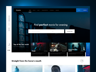 Filmography Library Landing Page filmography dark blue header concept rotator landingpage movie 10clouds search film