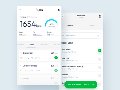 FITATU - Calories counter redesign 10clouds kcal meal eat food pal fit search app redesign calories fitatu