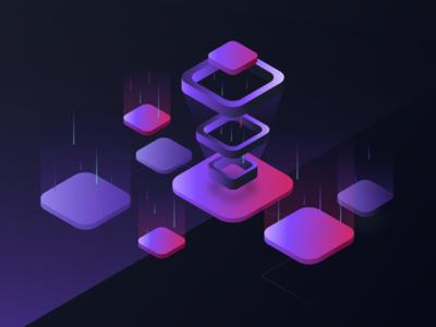 Illustration technology mood steps blue purple gradient isometric illustration