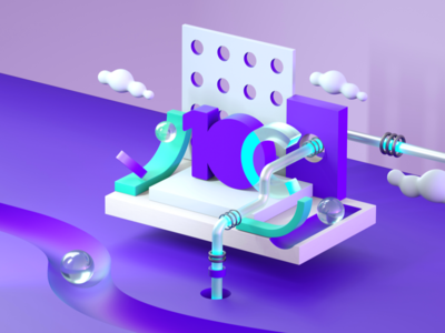 3D Explorations material ball pipe 10clouds purple render isometric explore 3d