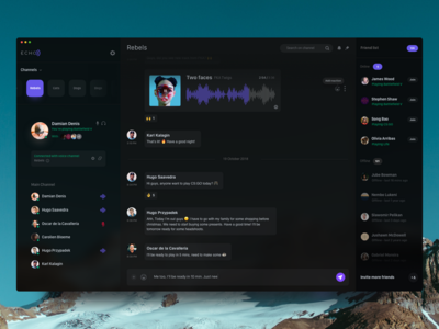 ECHO - Voice chat for gamers ux ui purple interface echo 10clouds comunication game message chat dark