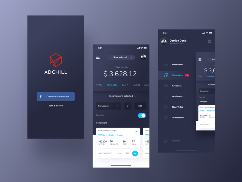 ADCHILL app cryptocurrency blockchain cryptocurrency blockchain crypto design interface app dark blue navigation menu adchill ads ui dark minimal