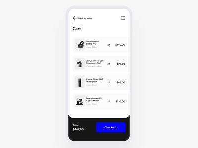 Checkout process mobile