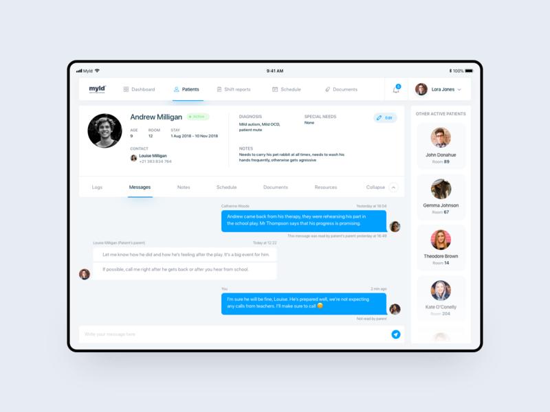 Myld - Nurse app hospital patient uxuidesign doubled interface minimal light details info chat citizens healthcare nurse blue design tablet ux app ui