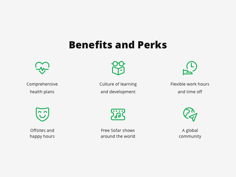 Careers page icons perks benefits happy global tickets shows time hours learning health icons design icon artwork icons set icons icon careers page careers career