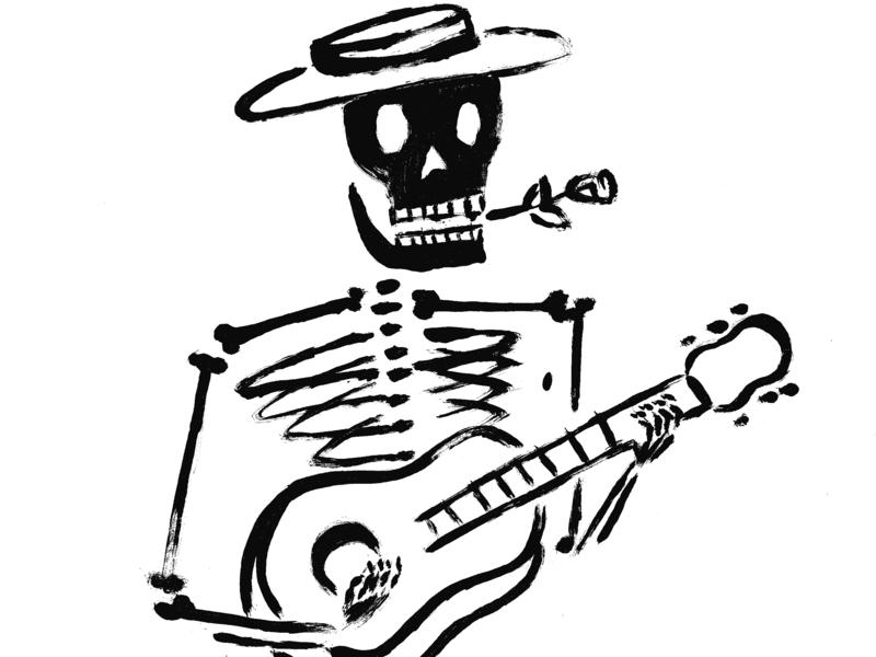 Don't forget to sell your soul dia de muertos dia de los muertos skeleton guitar design illustration